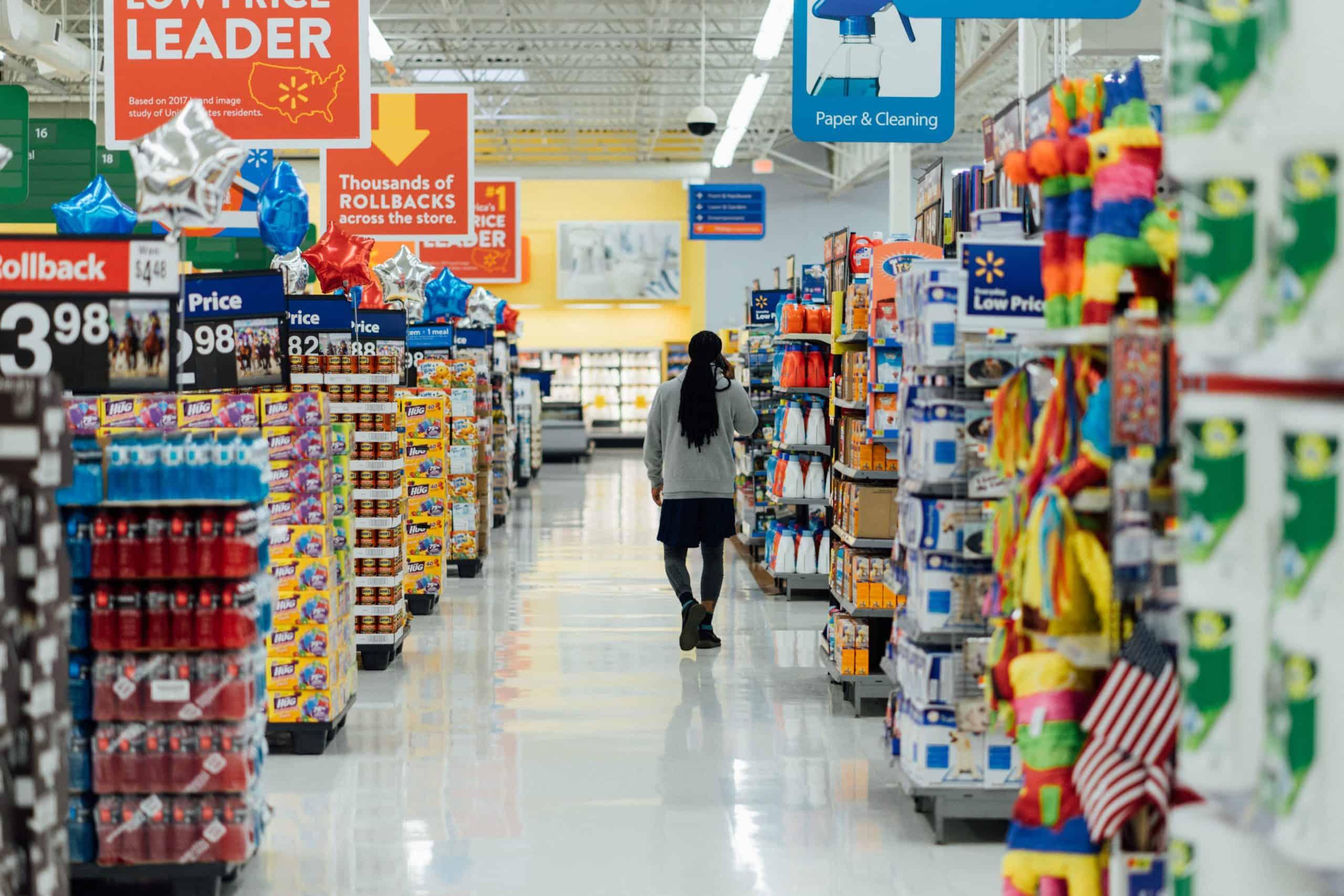 No spend month challenge - woman walking through Walmart store