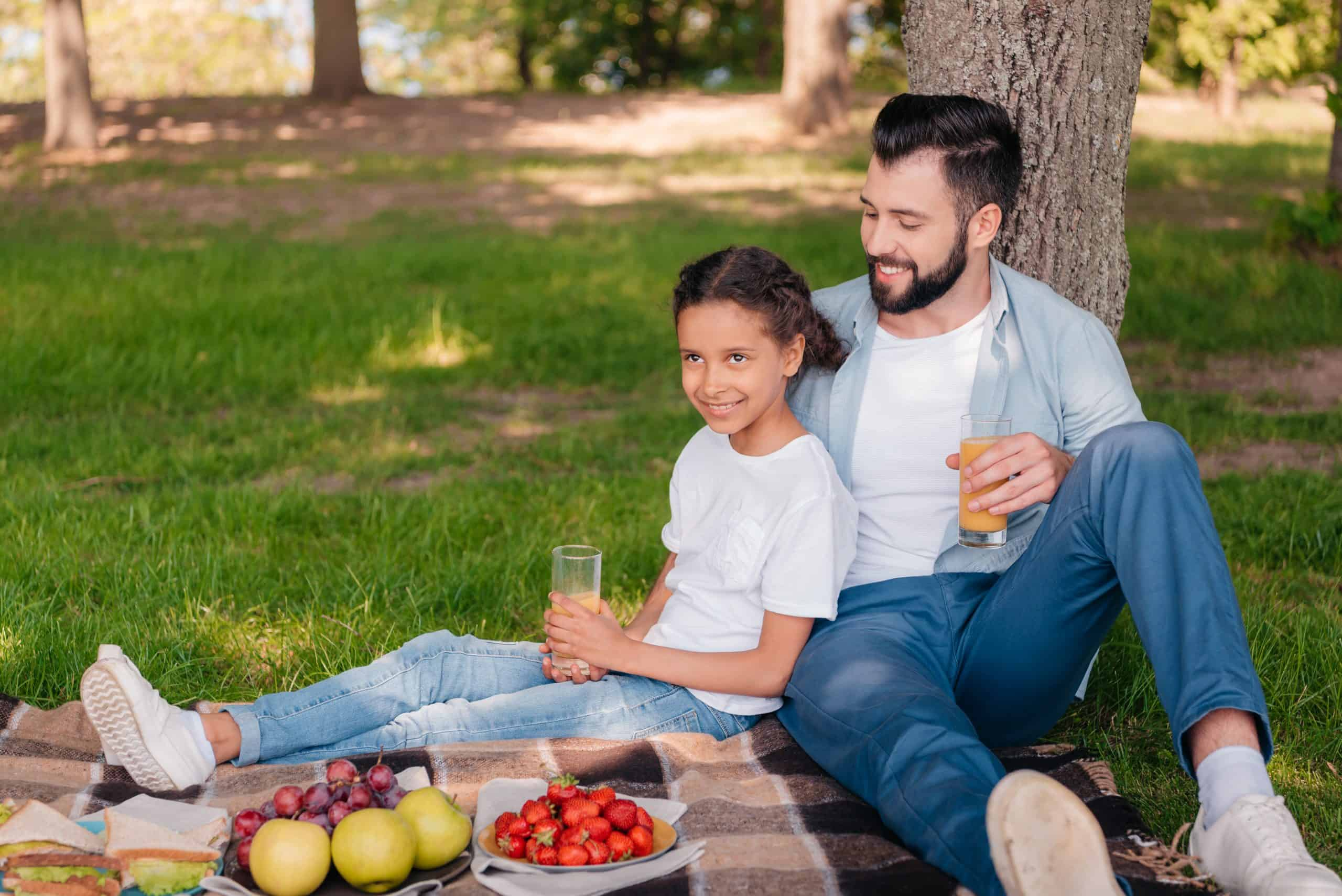 Perfect summer picnic - dad and young girl having a picnic on a blanket with fruit and sandwiches