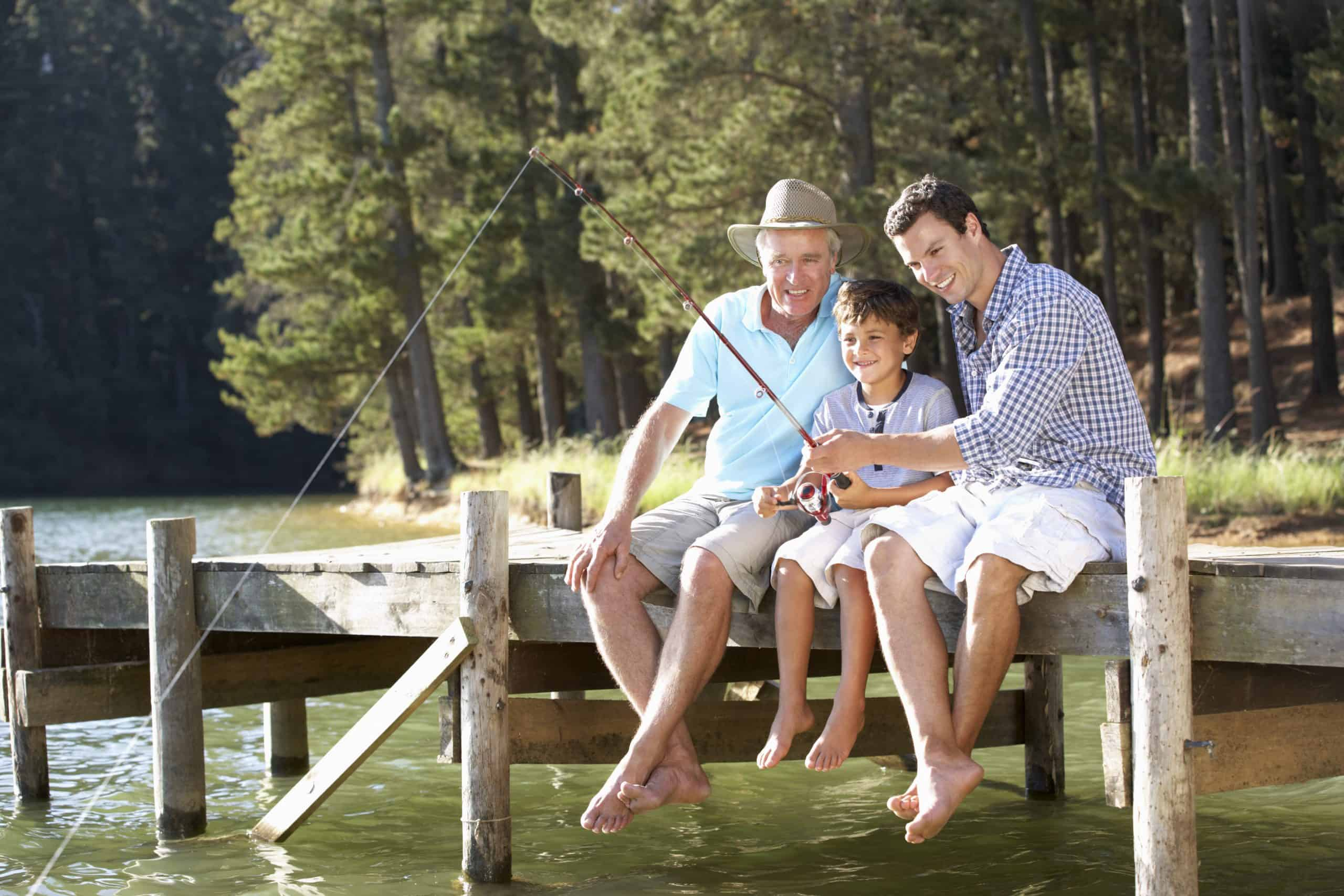 Used outdoor gear - Father,son and grandson fishing together