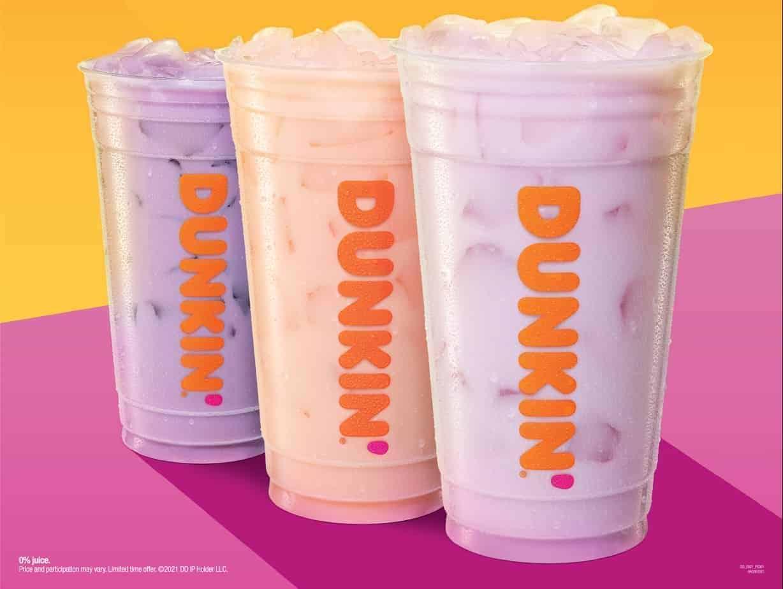 Coconut refreshers - 3 Dunkin' drinks