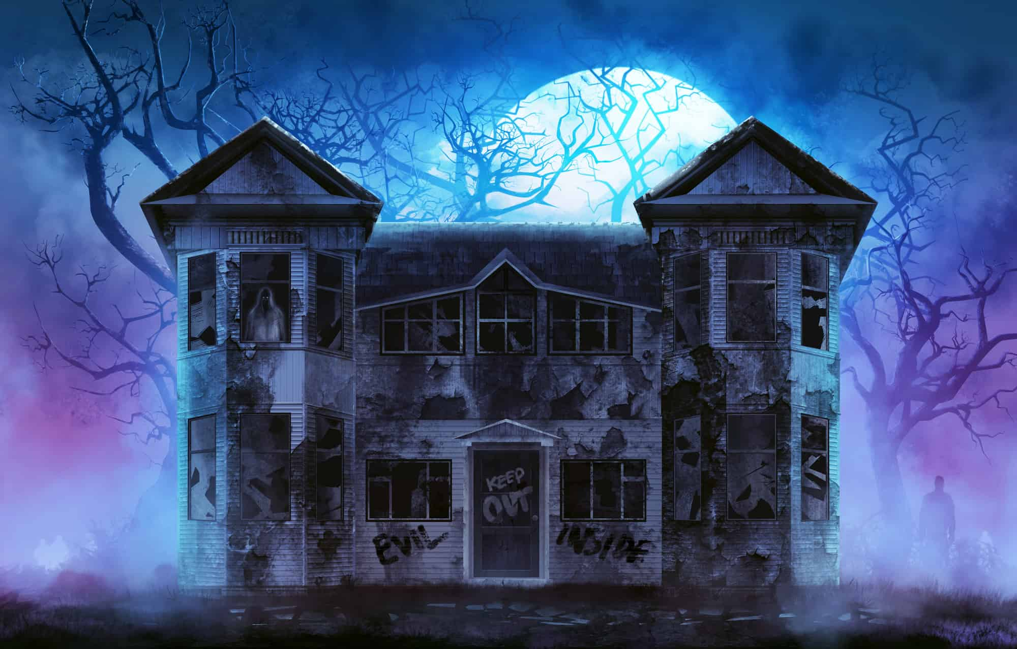 haunted house with moon rising in background