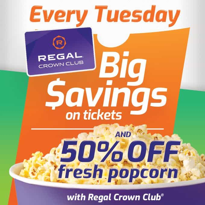 Tub of popcorn with Regal Crown Club loyalty card in background
