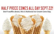 Half-price ice cream cones at Sonic Drive-In